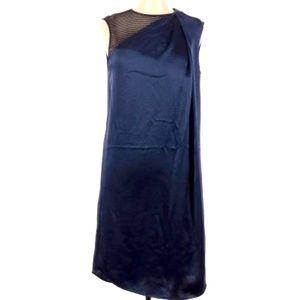 Halston Heritage Blue Dress with Net Shoulder Sz 8